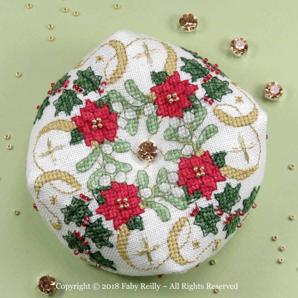 Sparkly Christmas Biscornu - Faby Reilly Designs