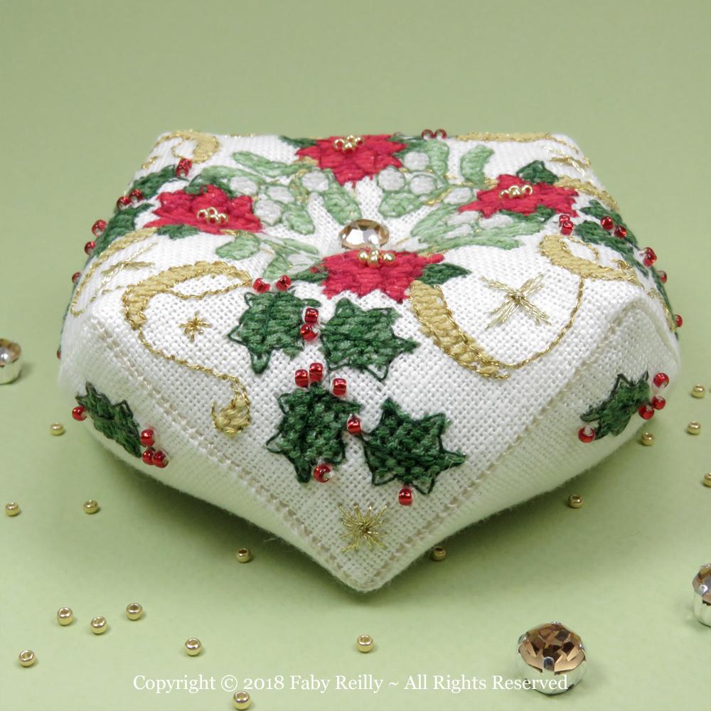 Sparkly Christmas Biscornu – Faby Reilly Designs