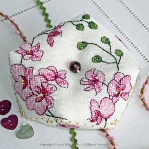 Plum Orchid Biscornu - Faby Reilly Desgins