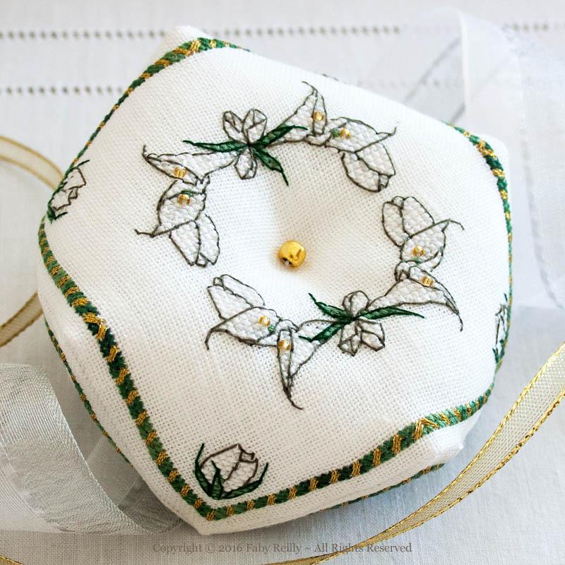 White Lily Biscornu