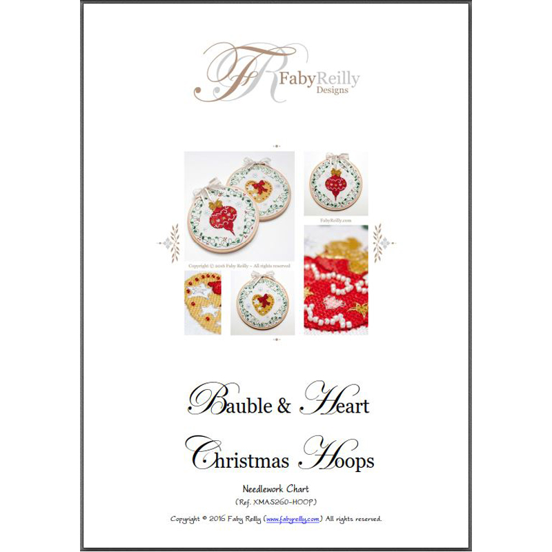 Bauble and Heart Hoops Chart Cover - Faby Reilly Designs
