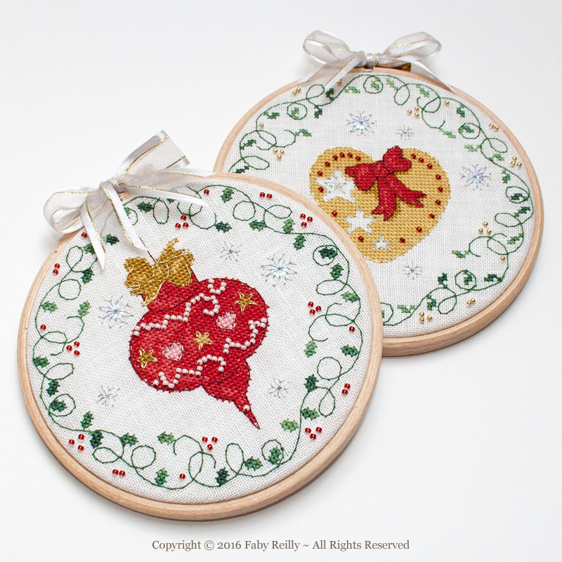 Bauble and Heart Christmas Hoops