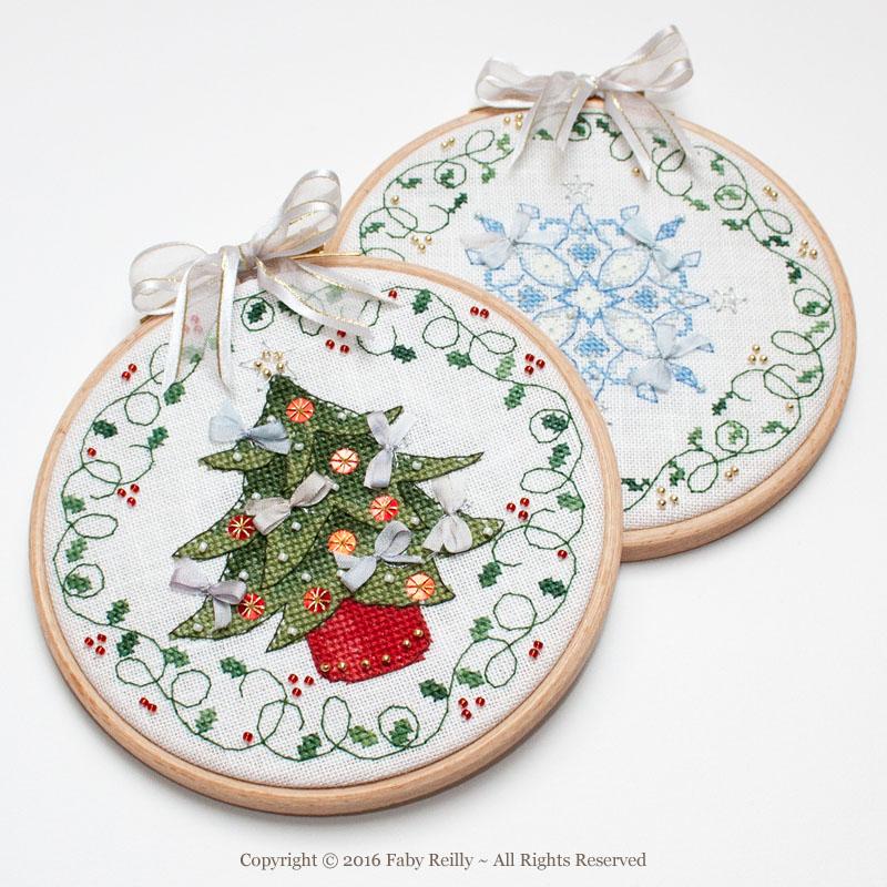 Tree and Flake Christmas Hoops