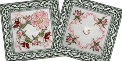 Framed Wild Rose Biscornu