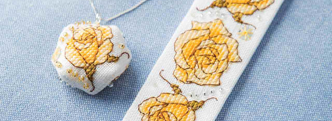 Yellow Rose Pendant - Faby Reilly Designs for Just Cross Stitch Magazine