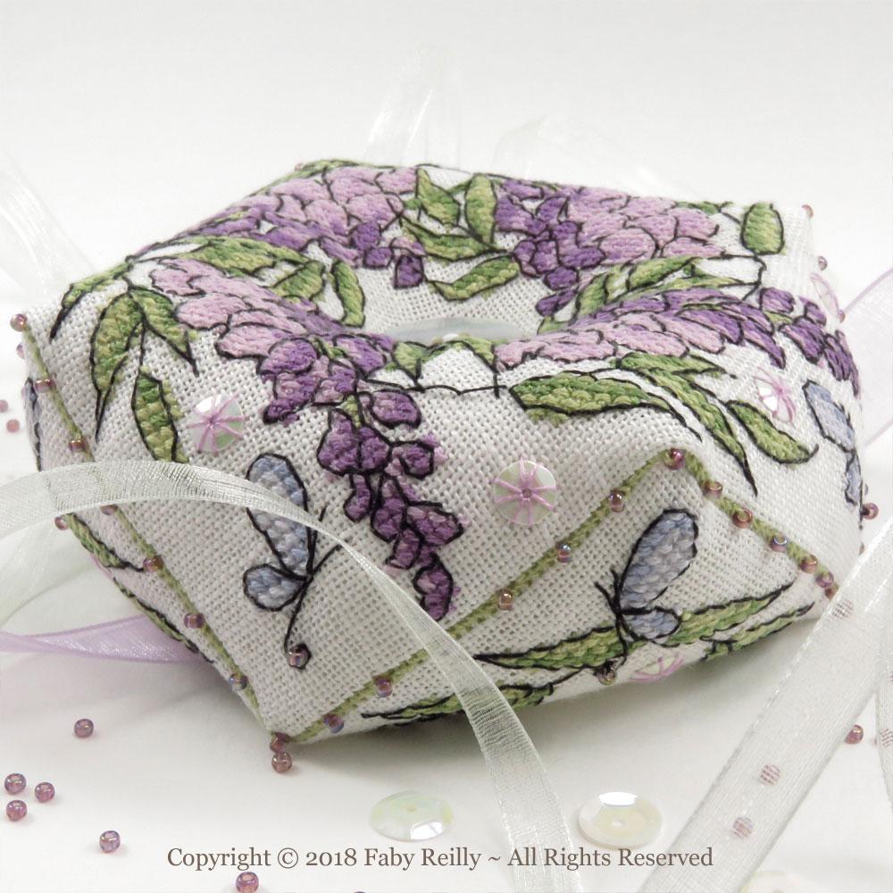 Wisteria-Biscornu - Faby Reilly Designs