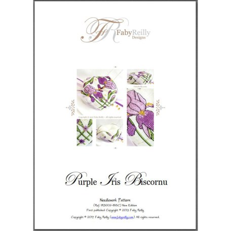 Purple Iris Biscornu – Faby Reilly Designs