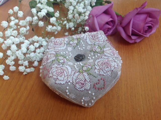 Once Upon a Rose Biscornu stitched by Maria