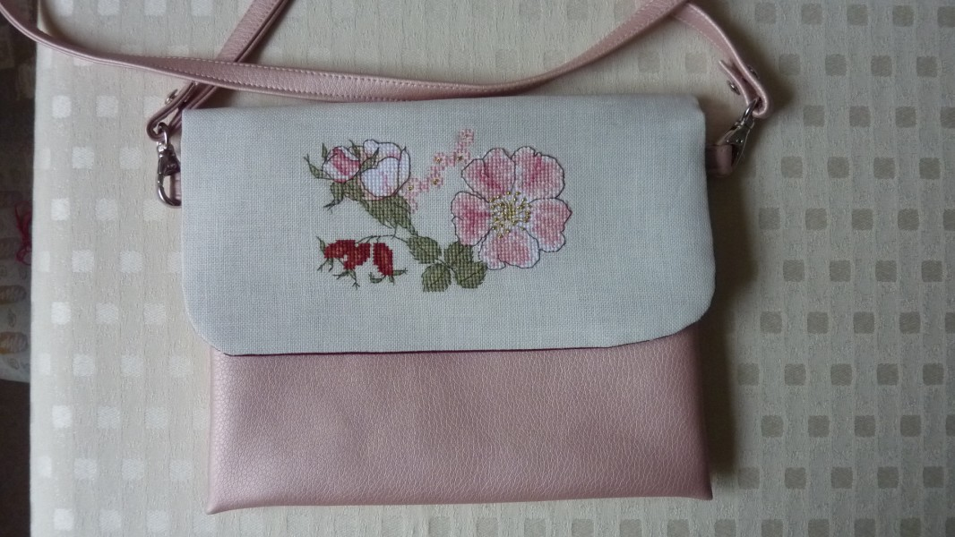 Wild Rose motif - stitched and finished into a bag by Monika