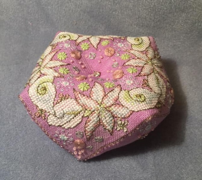 Wintry Blooms Biscornu - stitched by Kate