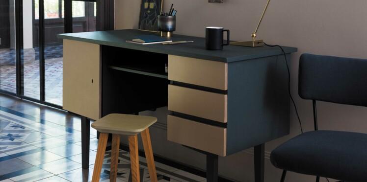 peinture relooker un bureau avec un effet metal