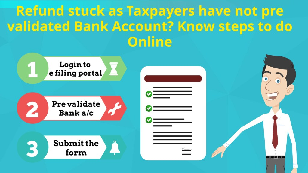 Refund stuck as Taxpayers have not pre validated Bank Account? Know steps to do Online