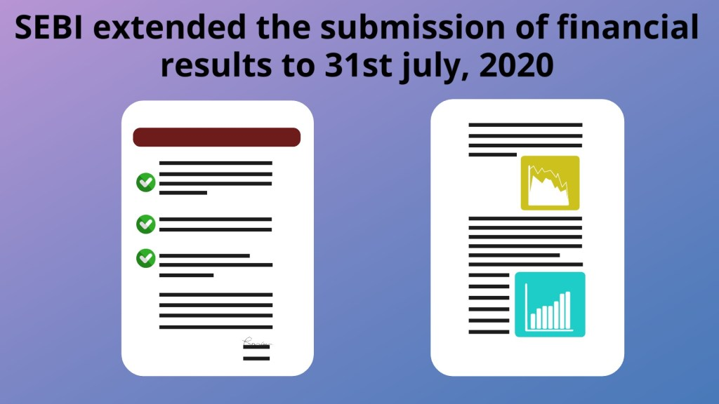 SEBI extended the submission of Financial results to 31st July, 2020