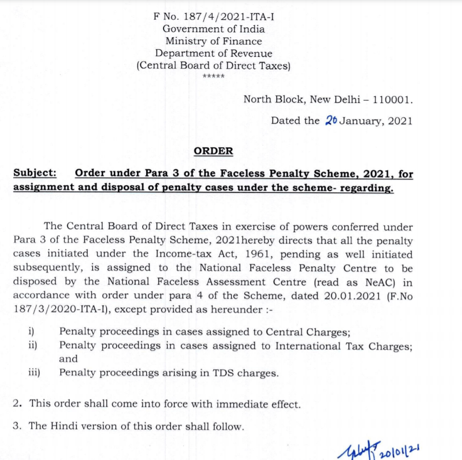 All Pending Penalties in Income Tax, International Tax & TDS Charge shall be Assigned to National Penalty Centre