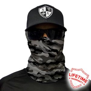 Grey Military Camo Face Shield - Face Mask - One Size