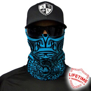 Polynesian Tribal | Blue Face Shield - Face Mask - One Size