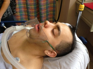 Evan Day 1- Right after surgery! Nice adaptive oxygen mask right?