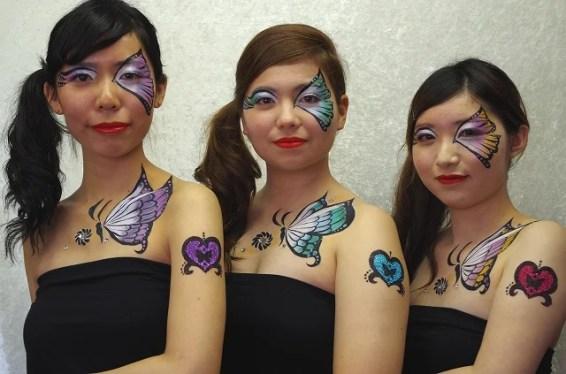 ボディペインティング&ボディジュエリー作品「3girls and butterflies」
