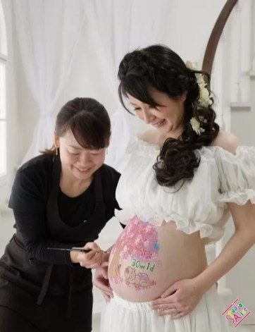 マタニティペイント@スタジオアリス「赤ちゃんと桜」