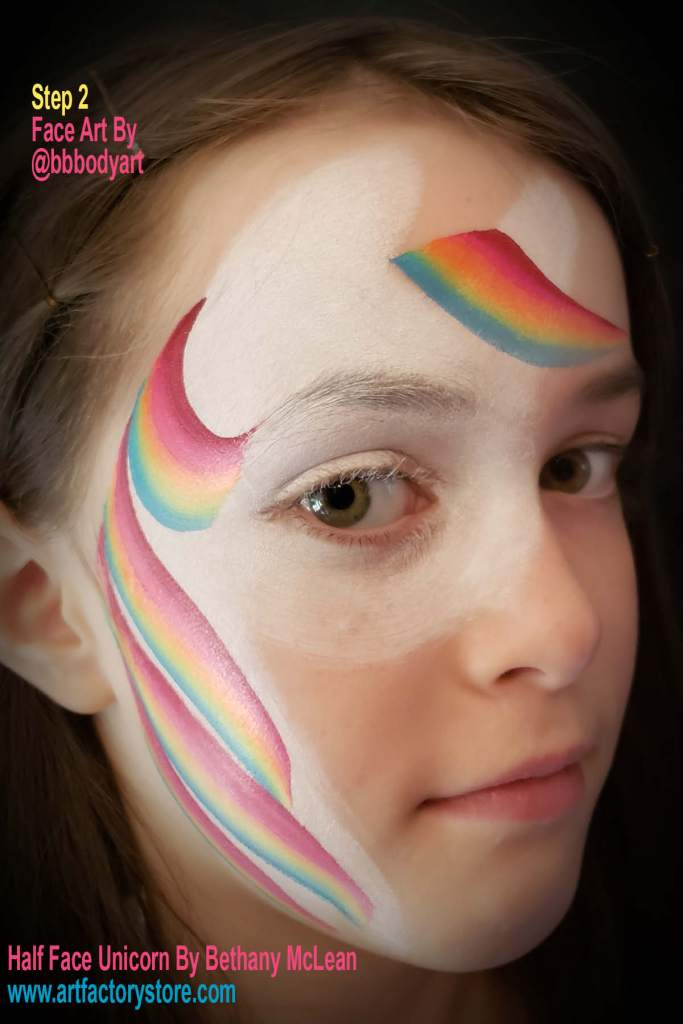 step 2 of half face unicorn tutorial