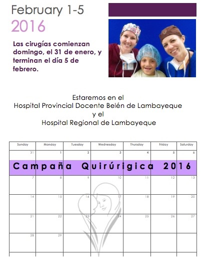 FACES Surgical Trip Calendar 2016