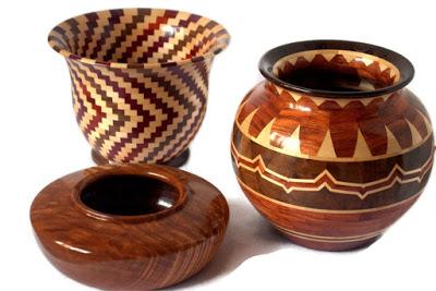 Wood turned vases