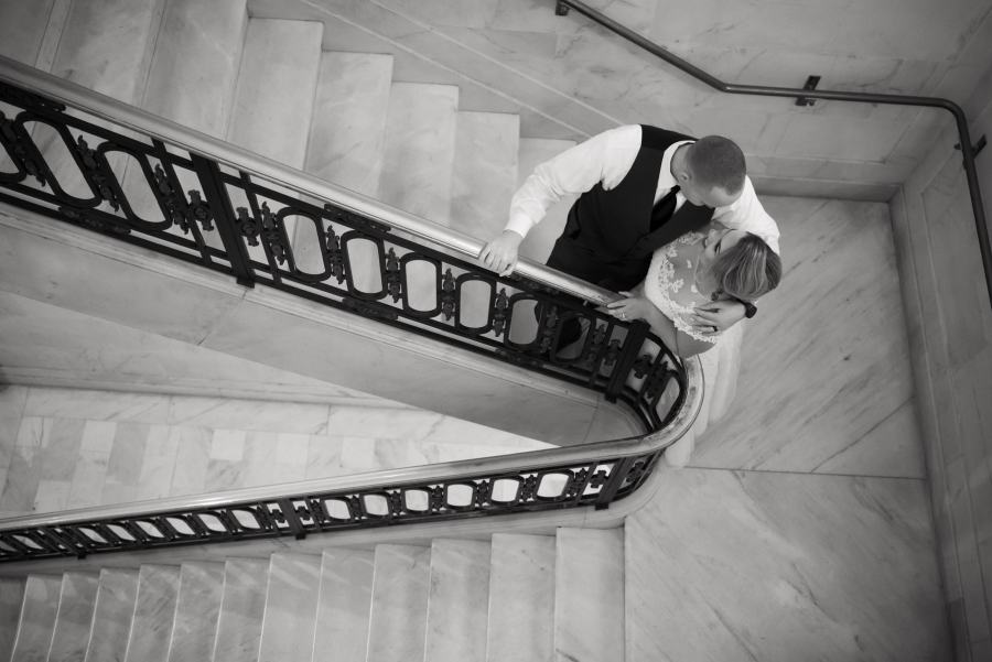 Wedding Photo on Stair Well