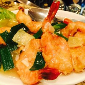 Grilled king prawn peking style