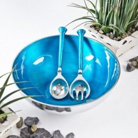 Blue salad bowl and servers