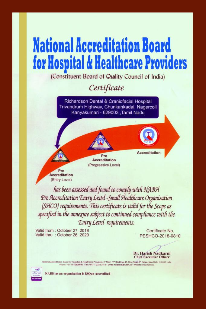 NABH Certificate for Richardsons Dental and Craniofacial Hospital