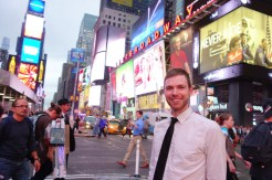 Nathan in Times Square