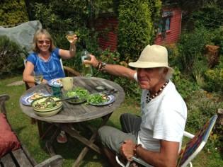 Jane and David in their backyard