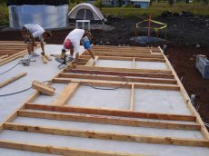 First wall assembled on the ground.