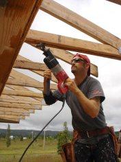 Scott fixing a truss.