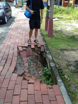 What if you're blind?? Malaysia is cruel to pedestrians. And this is a GOOD sidewalk. It's a sidewalk and it doesn't have cars on it, and that makes it good. But any sidewalk is still an obstacle course where you can fall into a hole and rats will eat your face or you will have to navigate around vehicles, low-hanging wires and old phone booths.