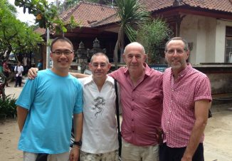 Friends Sten, Mark, Chris. Sten is Indonesian. Mark and Chris are English expats living in Bali.
