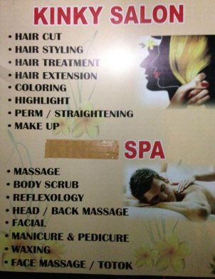 The Kinky Salon and Spa. They masked out the KINKY next to SPA - probably for good reason.