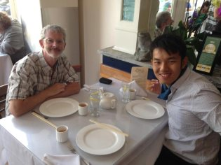 Simon and Chuan at Eric's restaurant - still wonderful after all these years.