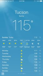 Horrendous heat in Tucson that we were grateful to be skipping.