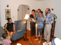 singing barbershop piece at the party