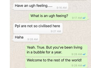 Chuan's first text to me when he arrived back in Malaysia after being in the States for a year. America, civilized? LOL!!