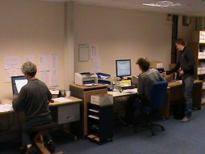 Kevin, Tim and James in the new office