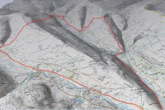 Yorkshire Dales ride, Memory Map printout