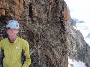 Wearing the Microtherm Alpine Jacket on the Traverse of the Bouquetins
