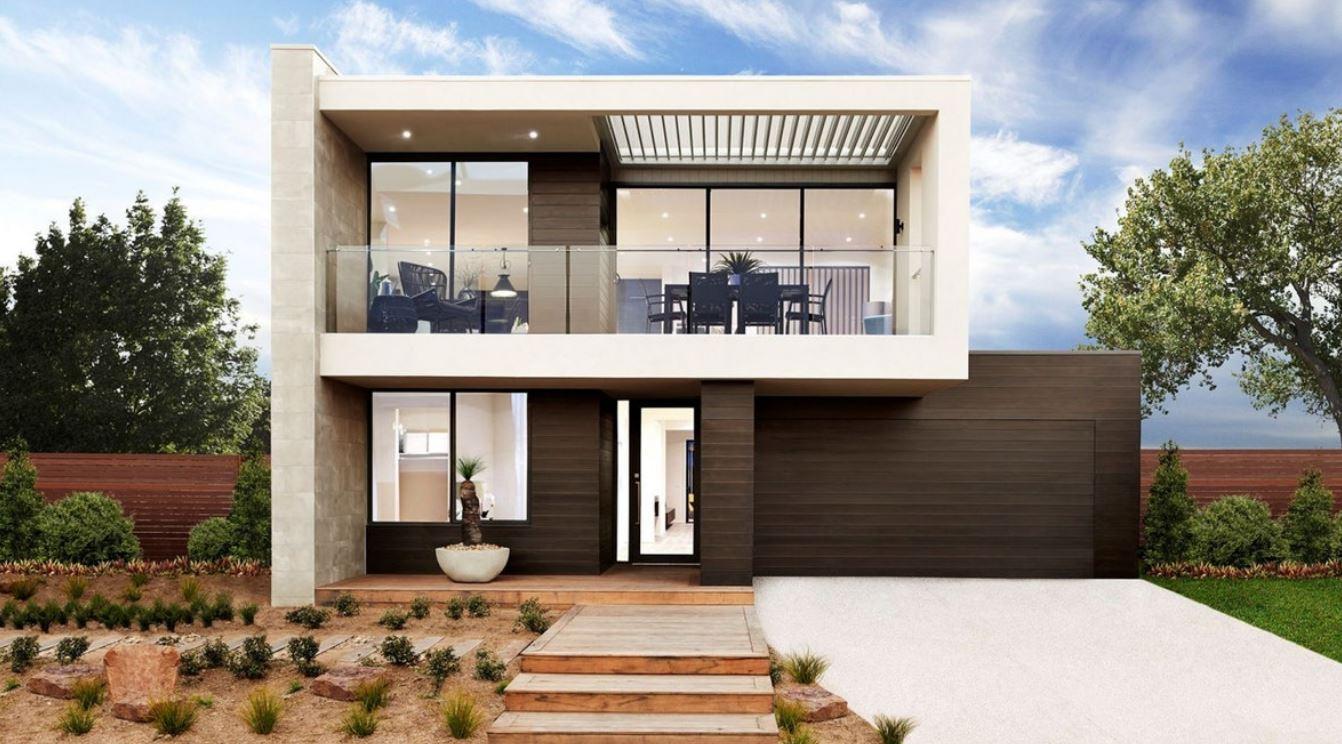 Frente Casas De Dos Pisos Con Terraza Arriba Modernas