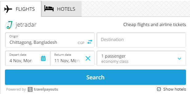 Flight and hotel search engine on travelpayouts