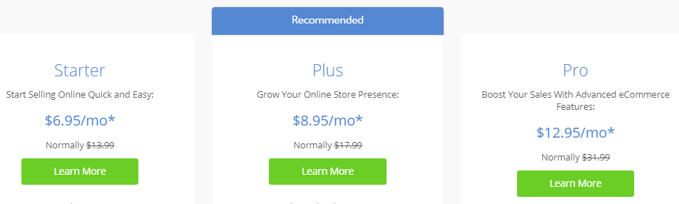 Bluehost pricing policy for starting an online store