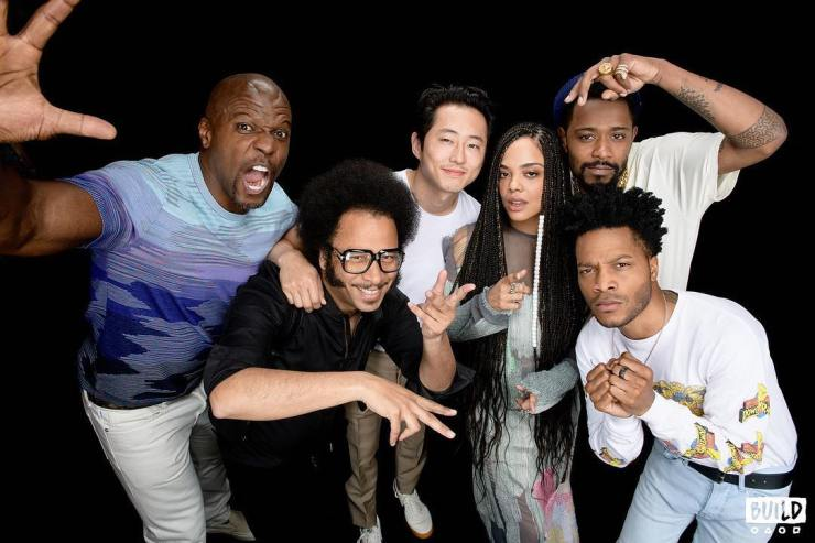 Jermaine Fowler posing with co stars for sorry to bother you sitcom