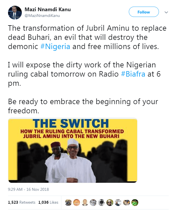 """(A screenshot taken on November 30 of a Twitter post by Nnamdi Kanu, claiming that President Buhari has died and has been replaced by """"Jubril Aminu"""")"""