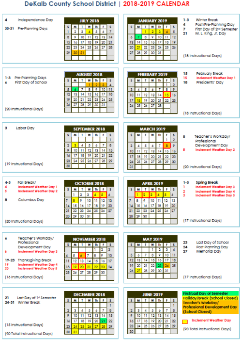 Orange County School Calendar 2016 2020 DeKalb Schools 2018 – 2020 Calendar | StanJester   FactChecker